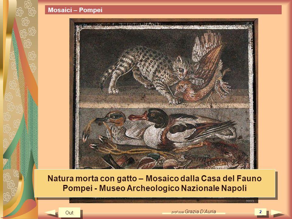 Natura morta con gatto – Mosaico dalla Casa del Fauno