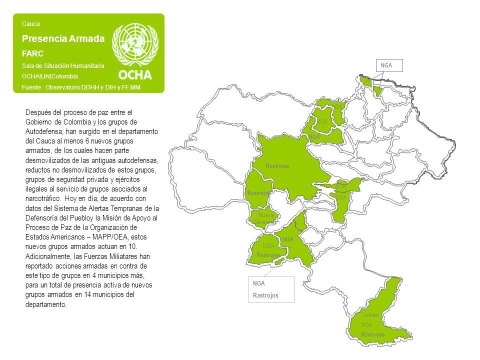 Cauca Presencia Armada. FARC. Sala de Situación Humanitaria. OCHA|UN|Colombia. Fuente: Observatorio DDHH y DIH y FF.MM.