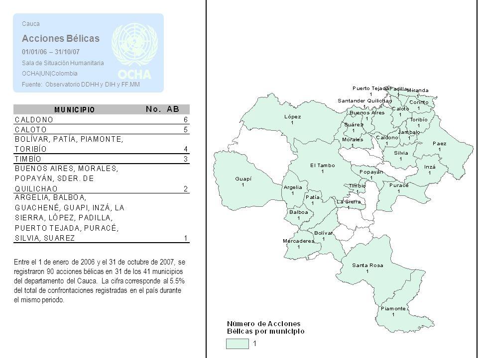 Cauca Acciones Bélicas. 01/01/06 – 31/10/07. Sala de Situación Humanitaria. OCHA|UN|Colombia. Fuente: Observatorio DDHH y DIH y FF.MM.