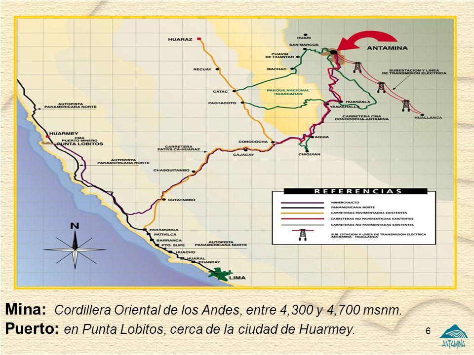 Mina: Cordillera Oriental de los Andes, entre 4,300 y 4,700 msnm.