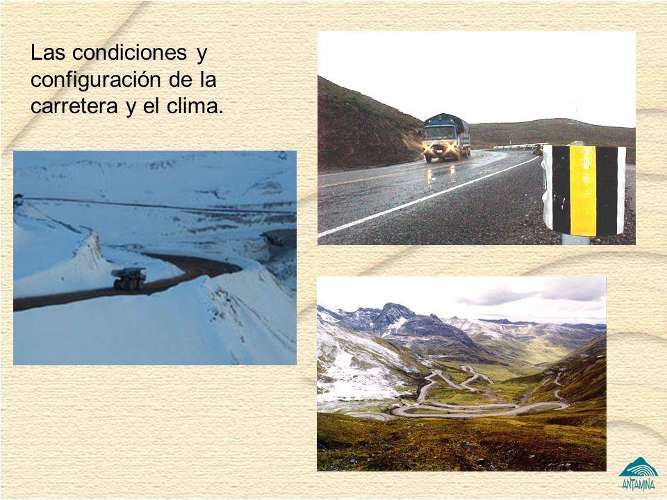 Las condiciones y configuración de la carretera y el clima.