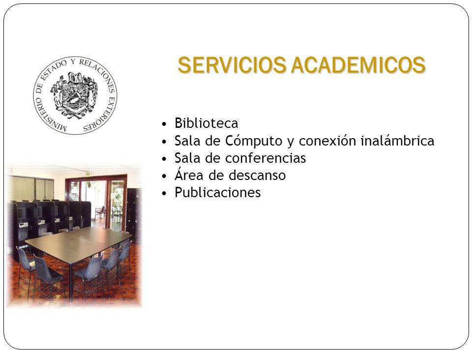 SERVICIOS ACADEMICOS Biblioteca Sala de Cómputo y conexión inalámbrica