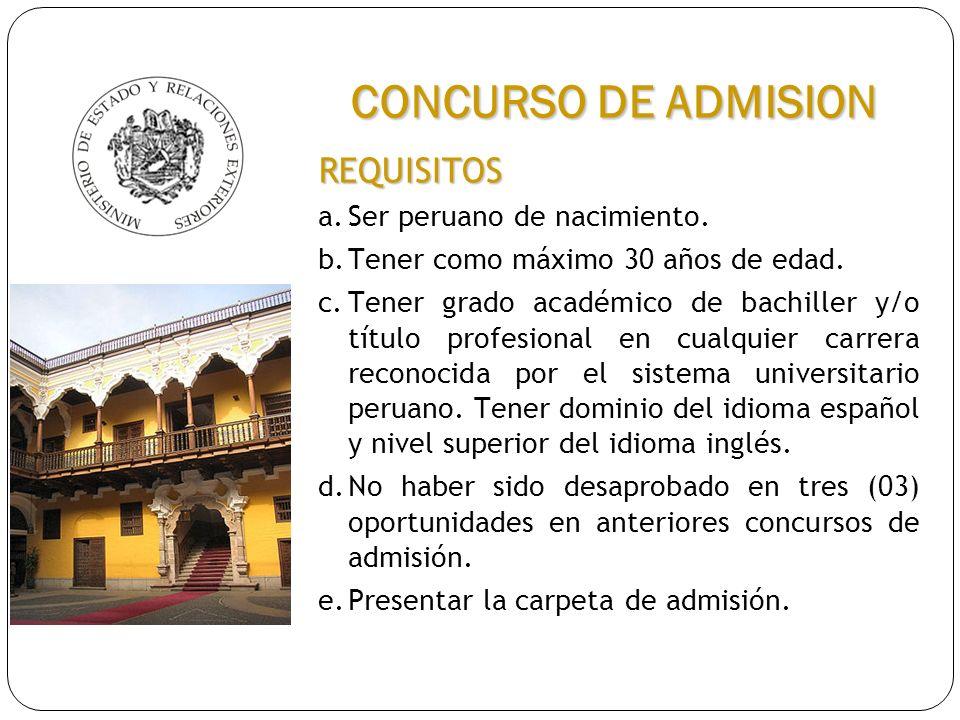 CONCURSO DE ADMISION REQUISITOS a. Ser peruano de nacimiento.