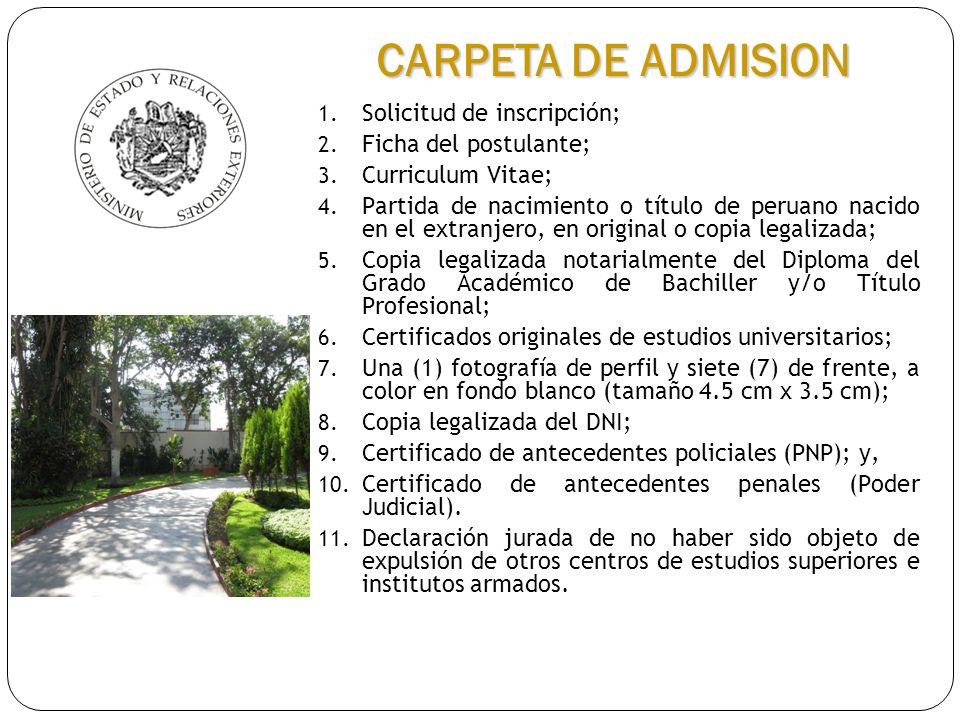 CARPETA DE ADMISION Solicitud de inscripción; Ficha del postulante;