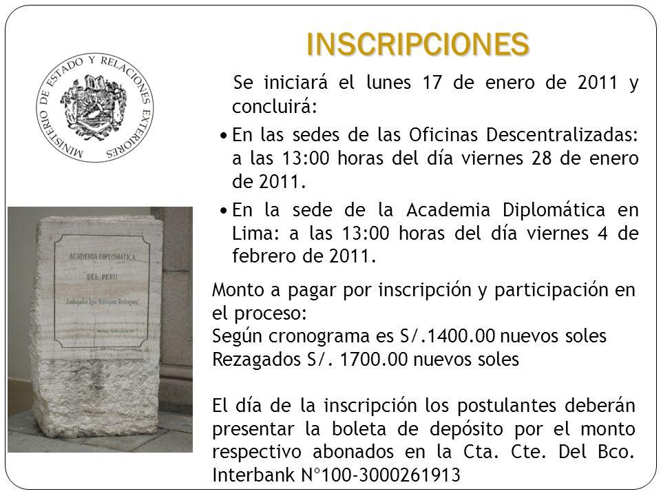INSCRIPCIONES Se iniciará el lunes 17 de enero de 2011 y concluirá: