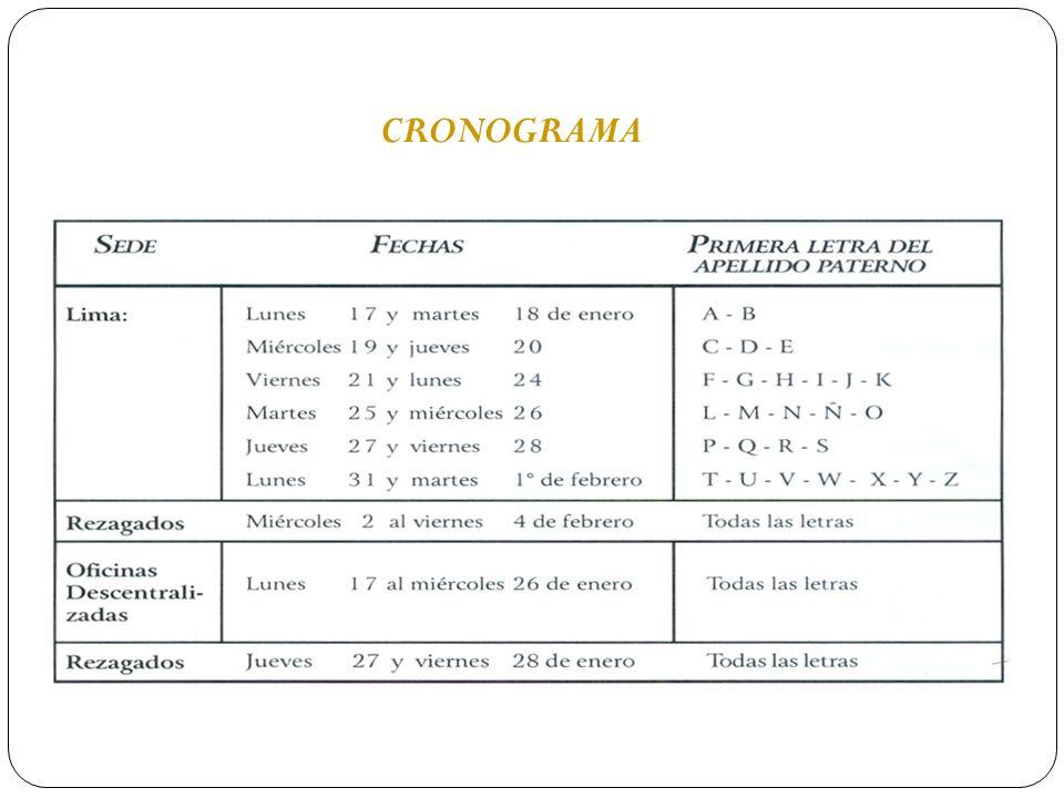 CRONOGRAMADe ninguna forma se aceptarán inscripciones fuera del cronograma establecido, ni en horario distinto al específicamente fijado.