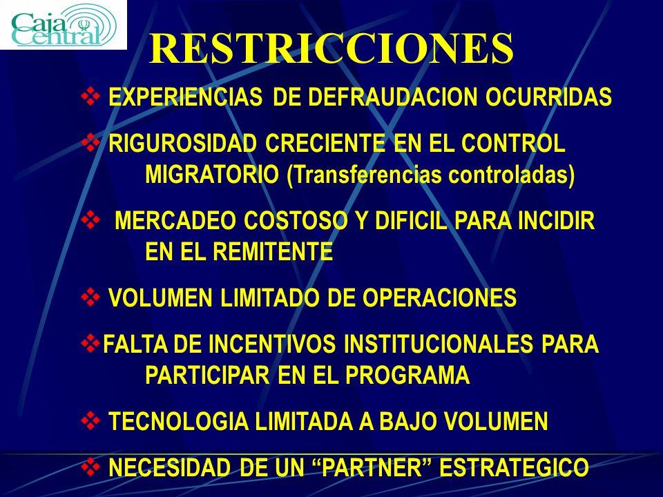RESTRICCIONES EXPERIENCIAS DE DEFRAUDACION OCURRIDAS