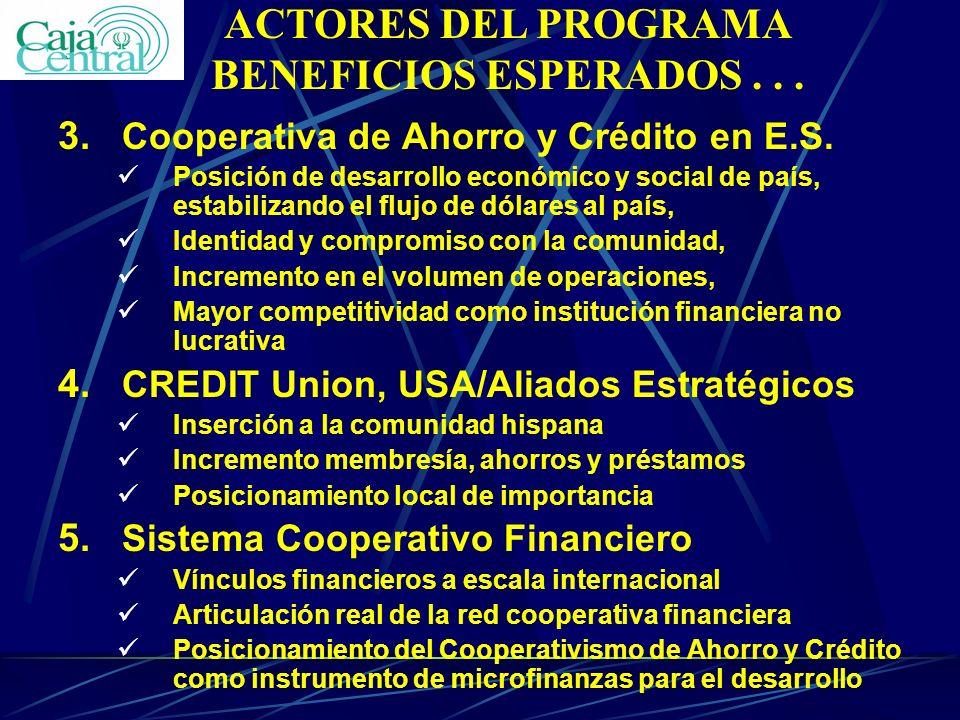 ACTORES DEL PROGRAMA BENEFICIOS ESPERADOS . . .