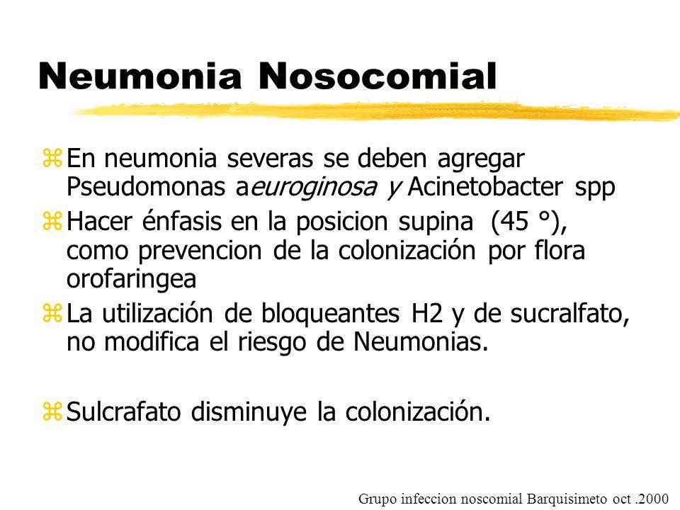Neumonia Nosocomial En neumonia severas se deben agregar Pseudomonas aeuroginosa y Acinetobacter spp.