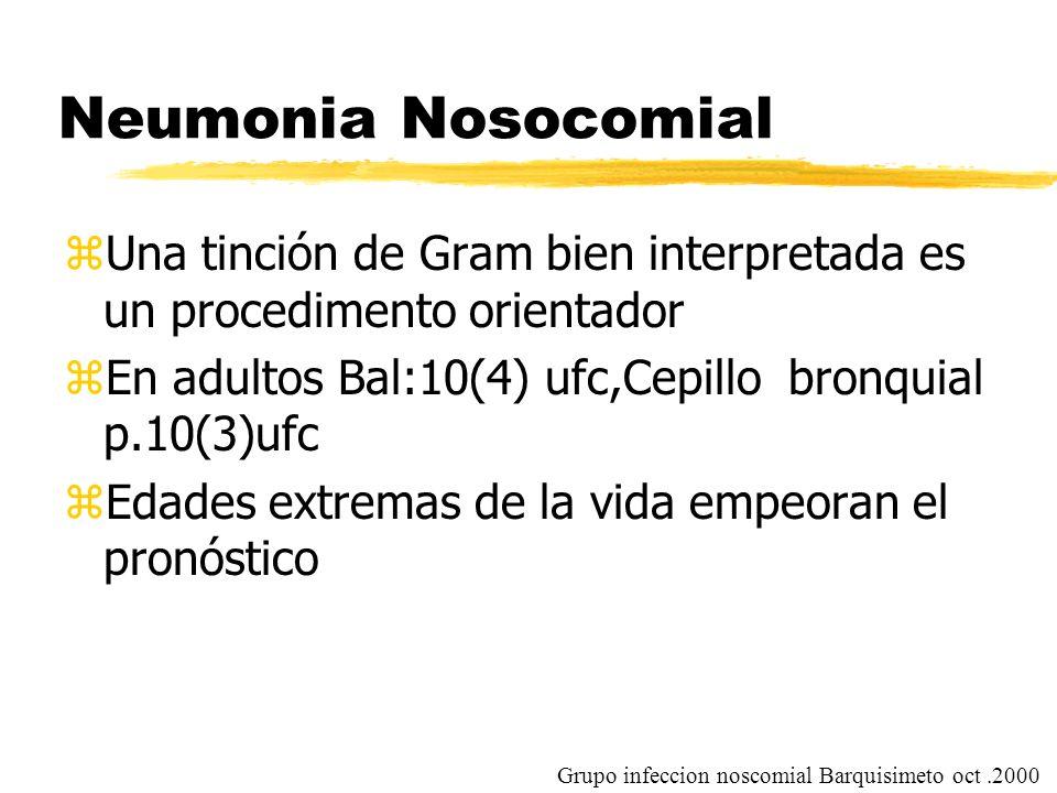 Neumonia Nosocomial Una tinción de Gram bien interpretada es un procedimento orientador. En adultos Bal:10(4) ufc,Cepillo bronquial p.10(3)ufc.