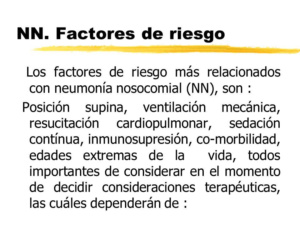 NN. Factores de riesgo Los factores de riesgo más relacionados con neumonía nosocomial (NN), son :