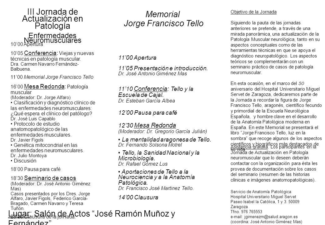 III Jornada de Actualización en Patología Memorial