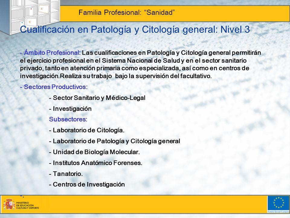 Cualificación en Patología y Citología general: Nivel 3
