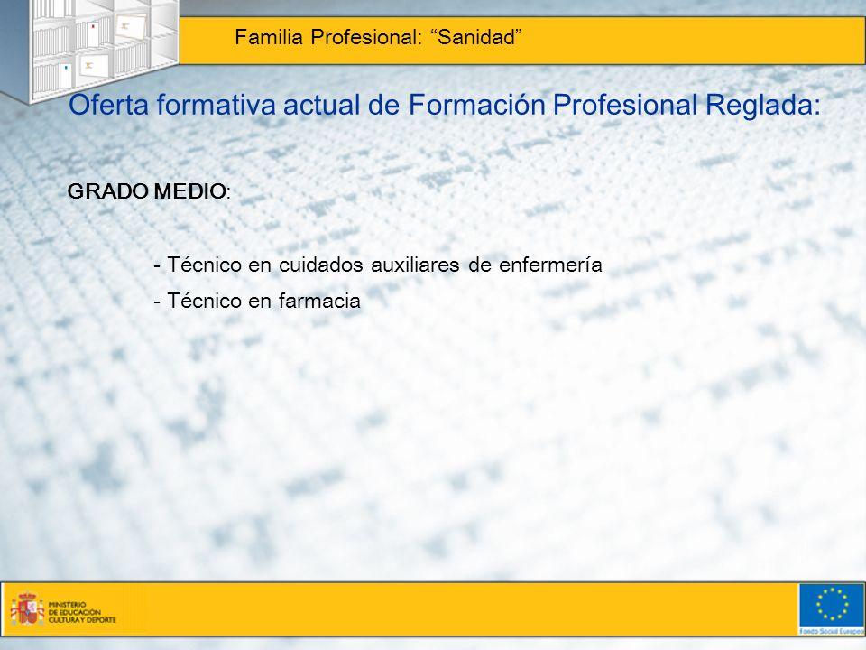 Oferta formativa actual de Formación Profesional Reglada: