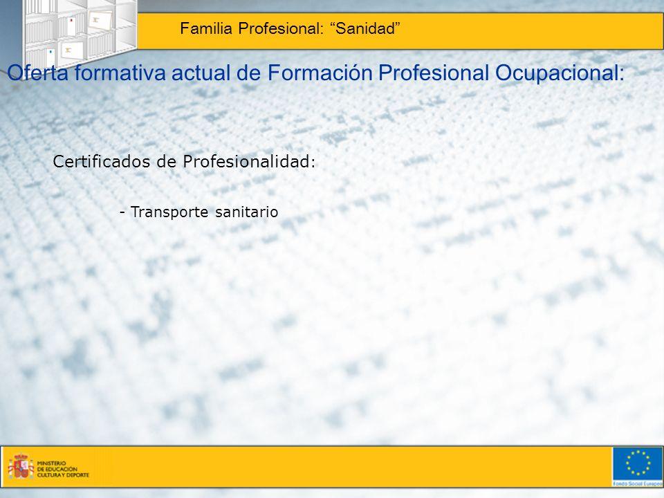Oferta formativa actual de Formación Profesional Ocupacional: