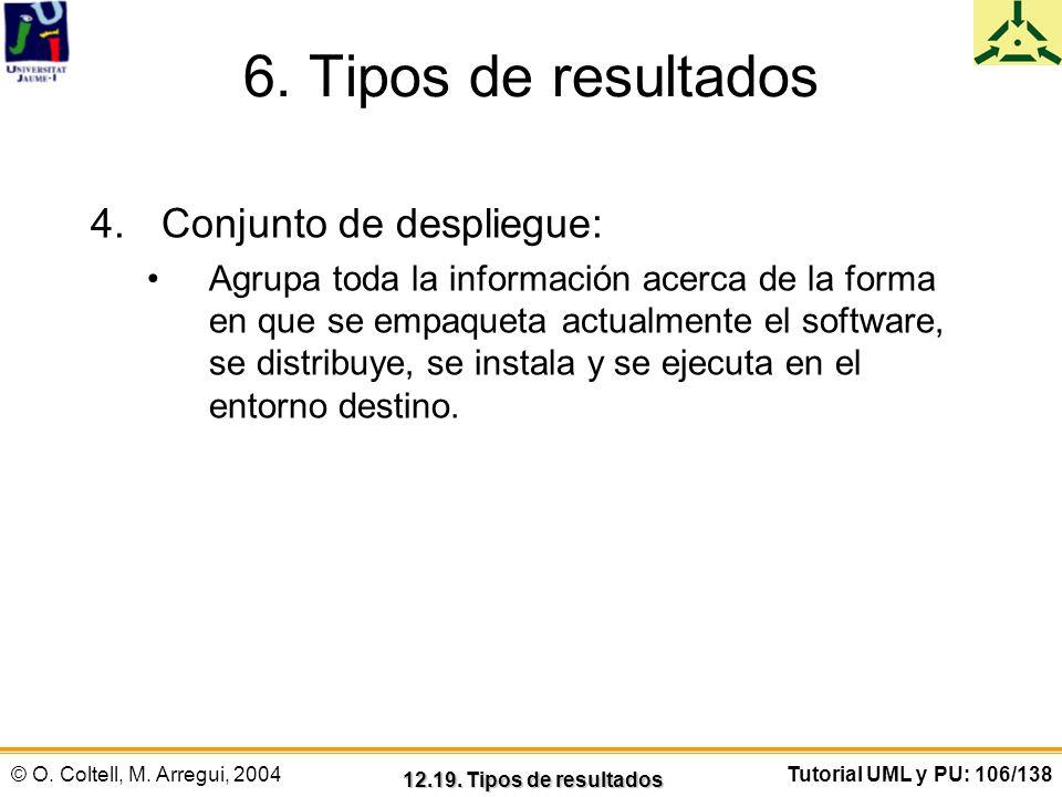 6. Tipos de resultados Conjunto de despliegue:
