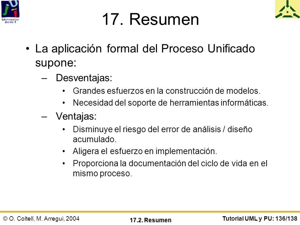17. Resumen La aplicación formal del Proceso Unificado supone:
