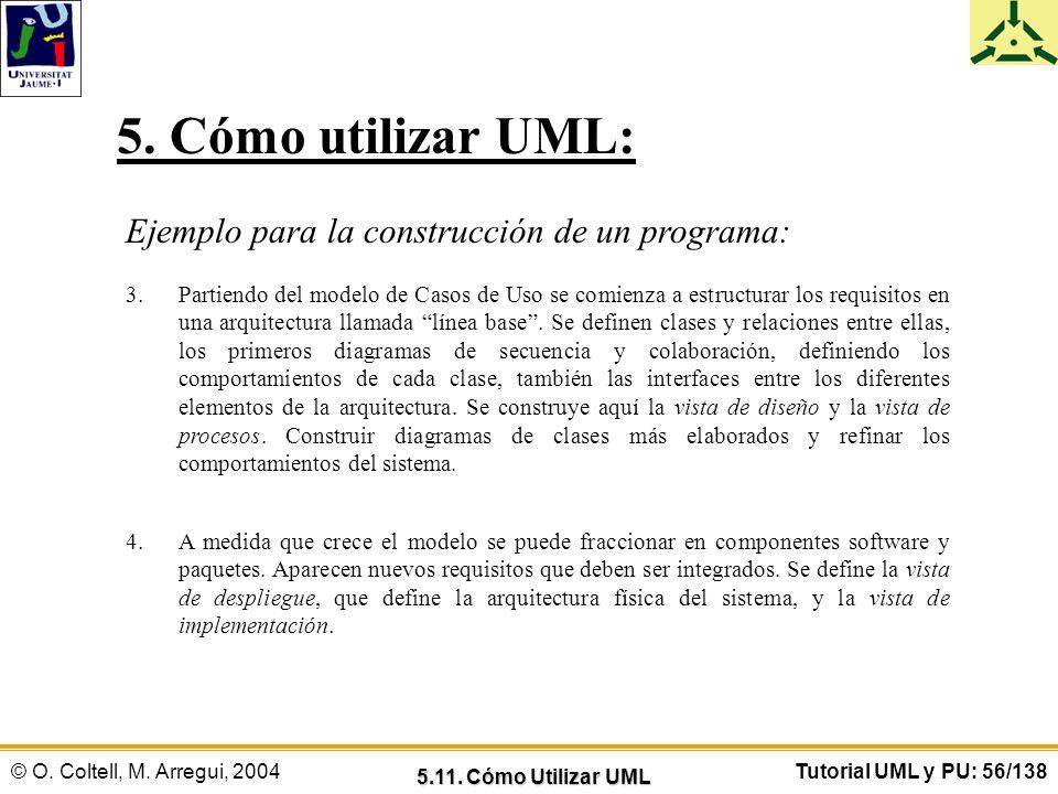 5. Cómo utilizar UML: Ejemplo para la construcción de un programa: