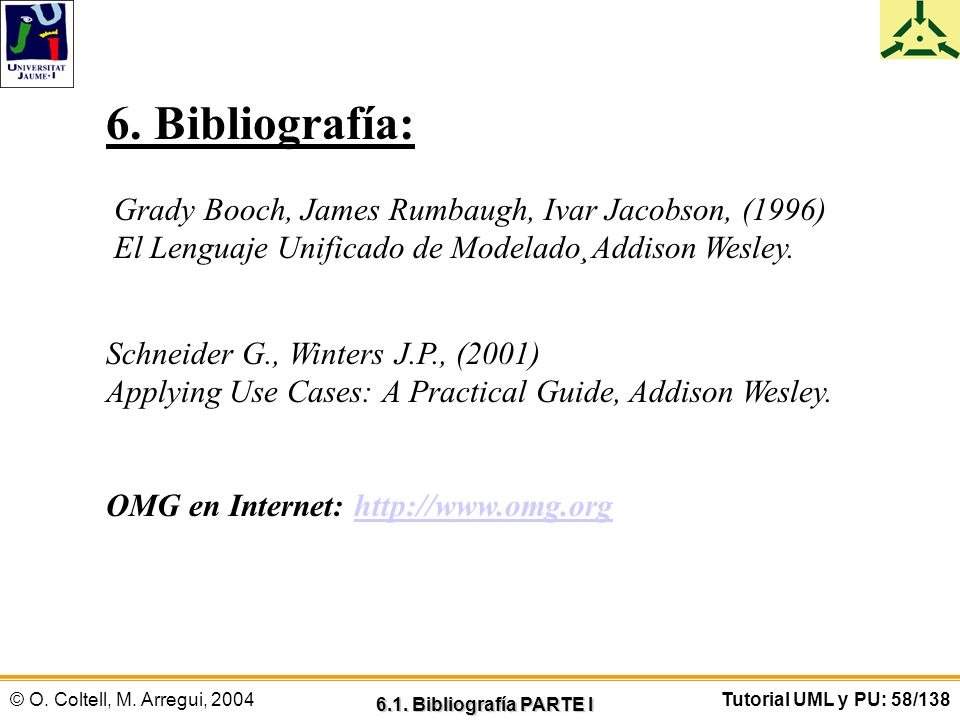 6. Bibliografía: Grady Booch, James Rumbaugh, Ivar Jacobson, (1996)