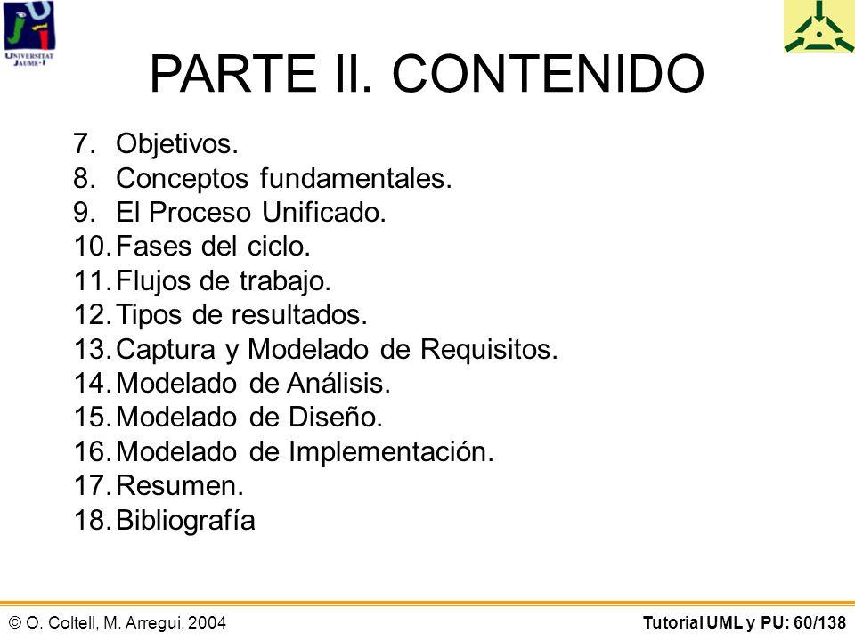 PARTE II. CONTENIDO Objetivos. Conceptos fundamentales.