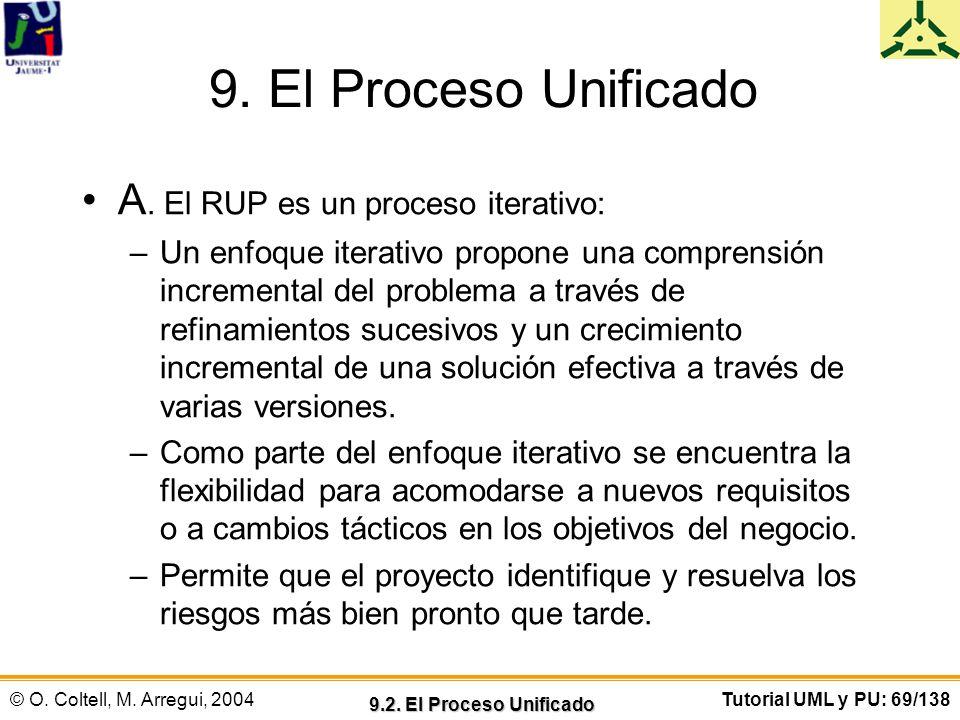 9. El Proceso Unificado A. El RUP es un proceso iterativo: