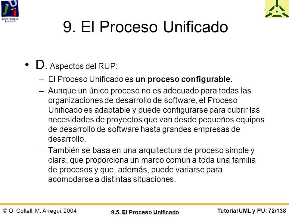 9. El Proceso Unificado D. Aspectos del RUP: