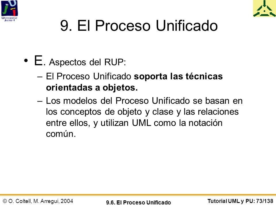 9. El Proceso Unificado E. Aspectos del RUP: