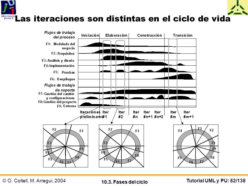 Las iteraciones son distintas en el ciclo de vida