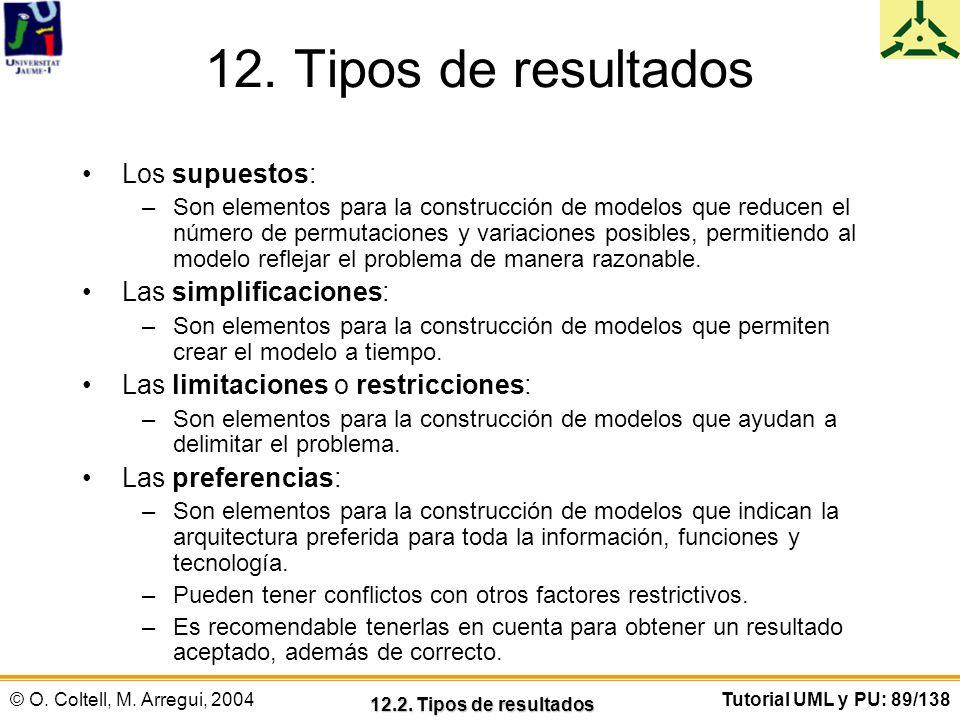 12. Tipos de resultados Los supuestos: Las simplificaciones: