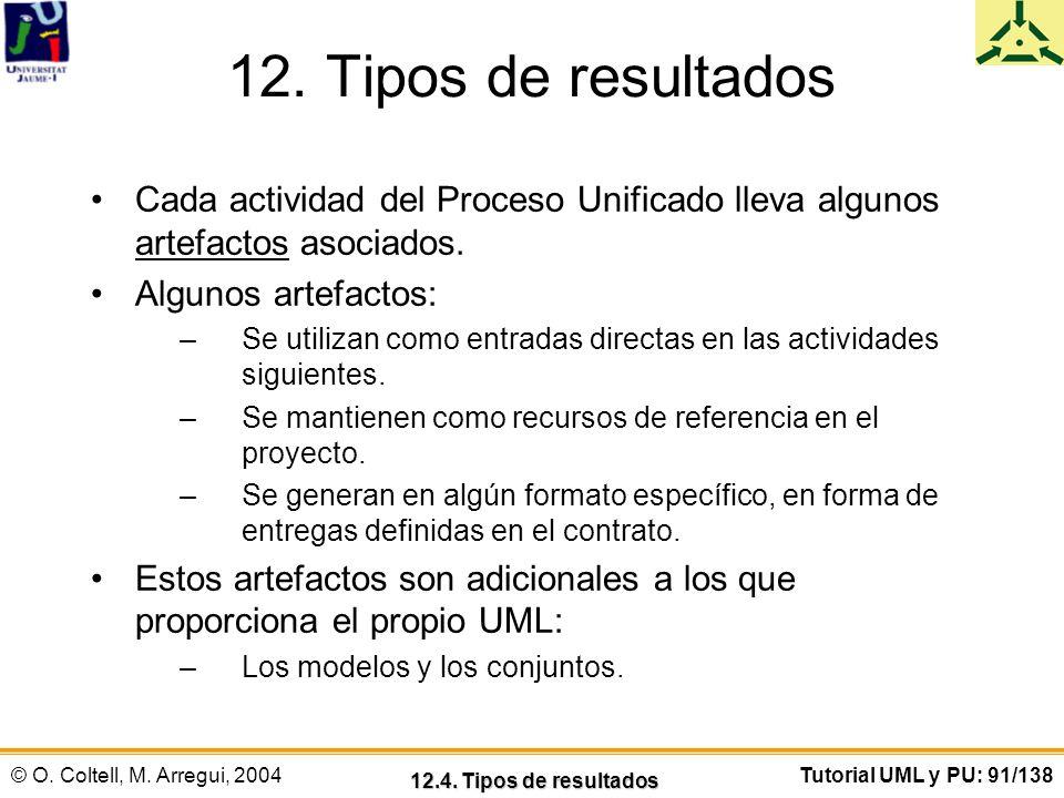 12. Tipos de resultados Cada actividad del Proceso Unificado lleva algunos artefactos asociados. Algunos artefactos: