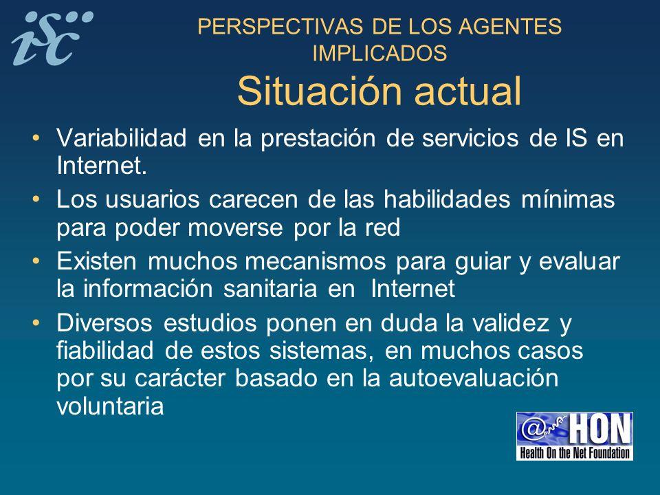 PERSPECTIVAS DE LOS AGENTES IMPLICADOS Situación actual
