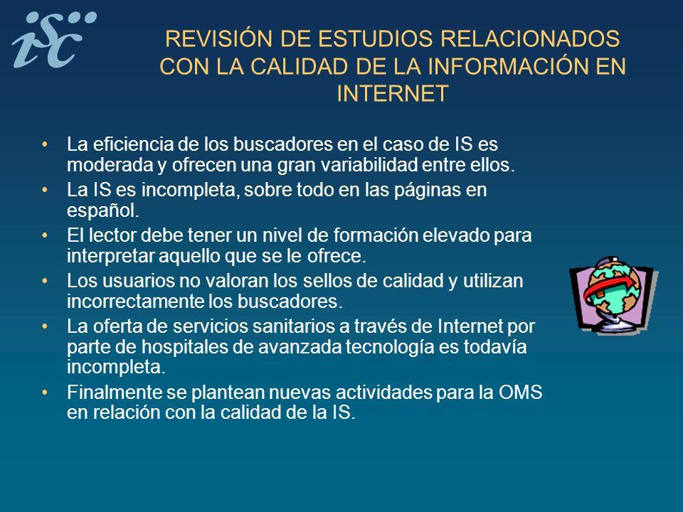 REVISIÓN DE ESTUDIOS RELACIONADOS CON LA CALIDAD DE LA INFORMACIÓN EN INTERNET