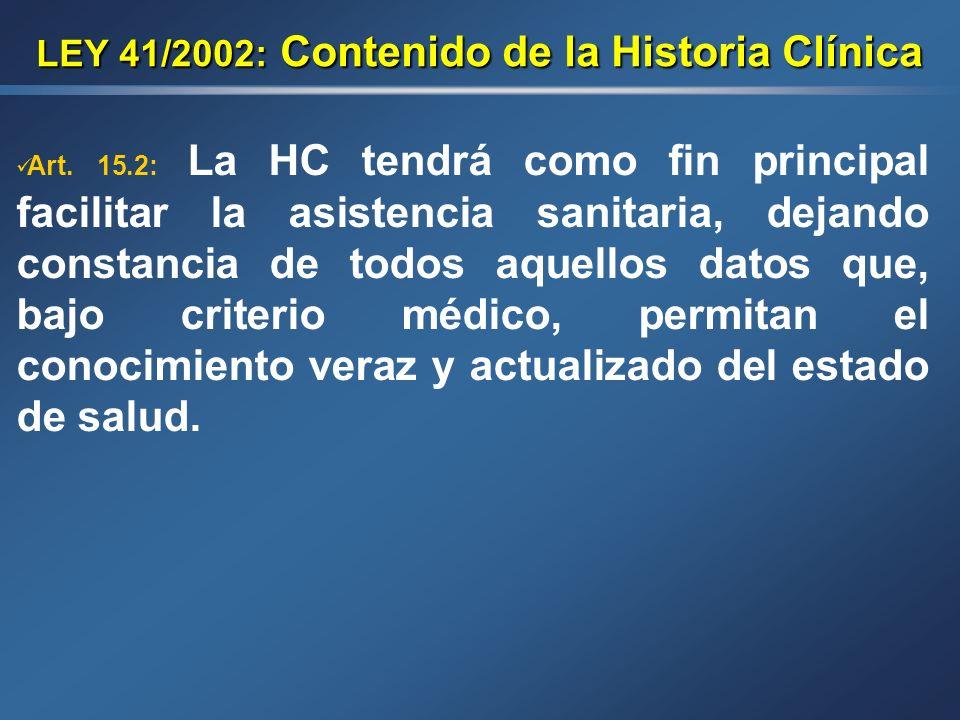 LEY 41/2002: Contenido de la Historia Clínica