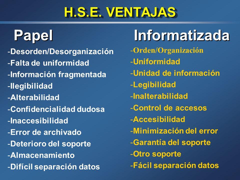 Papel Informatizada H.S.E. VENTAJAS Orden/Organización