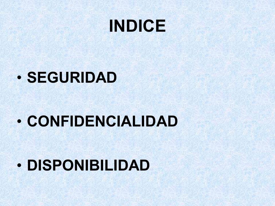 INDICE SEGURIDAD CONFIDENCIALIDAD DISPONIBILIDAD V INFORME SEIS. 2003