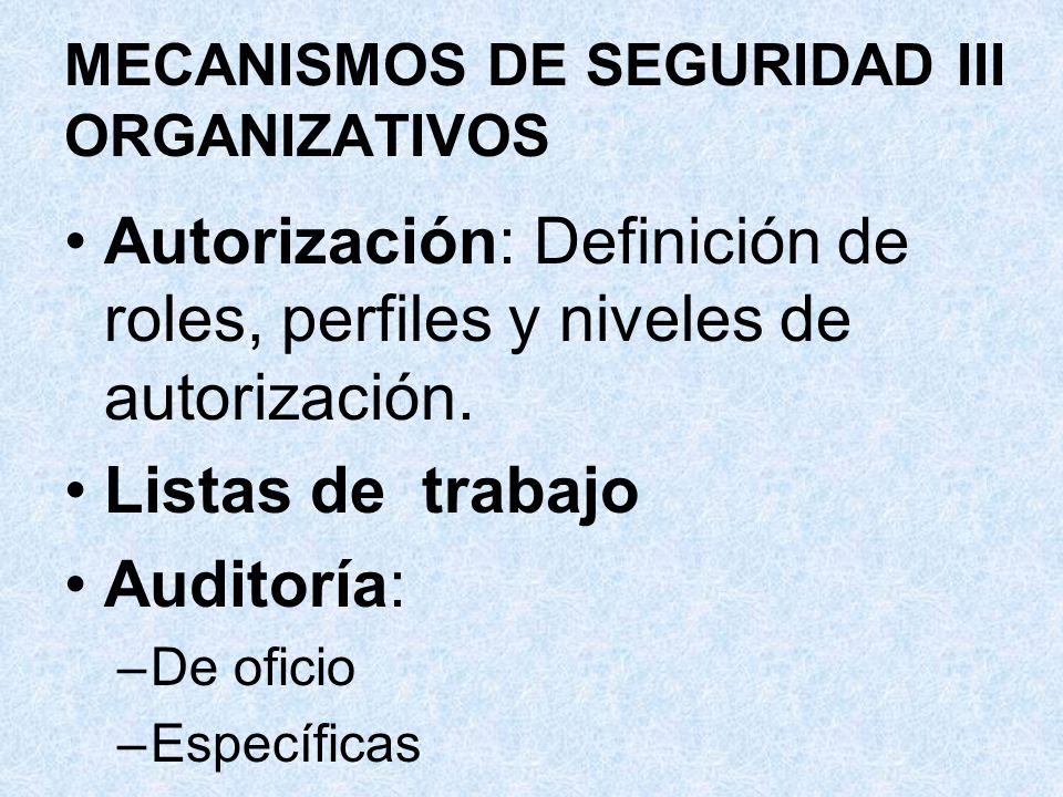 MECANISMOS DE SEGURIDAD III ORGANIZATIVOS