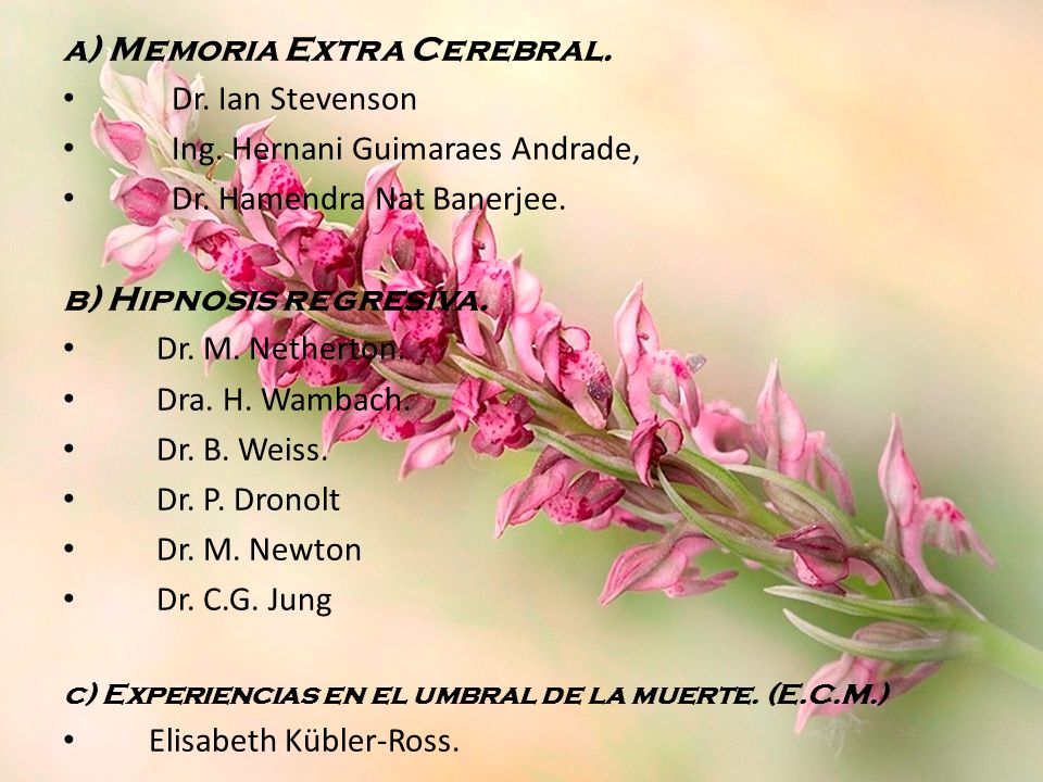 a) Memoria Extra Cerebral. Dr. Ian Stevenson