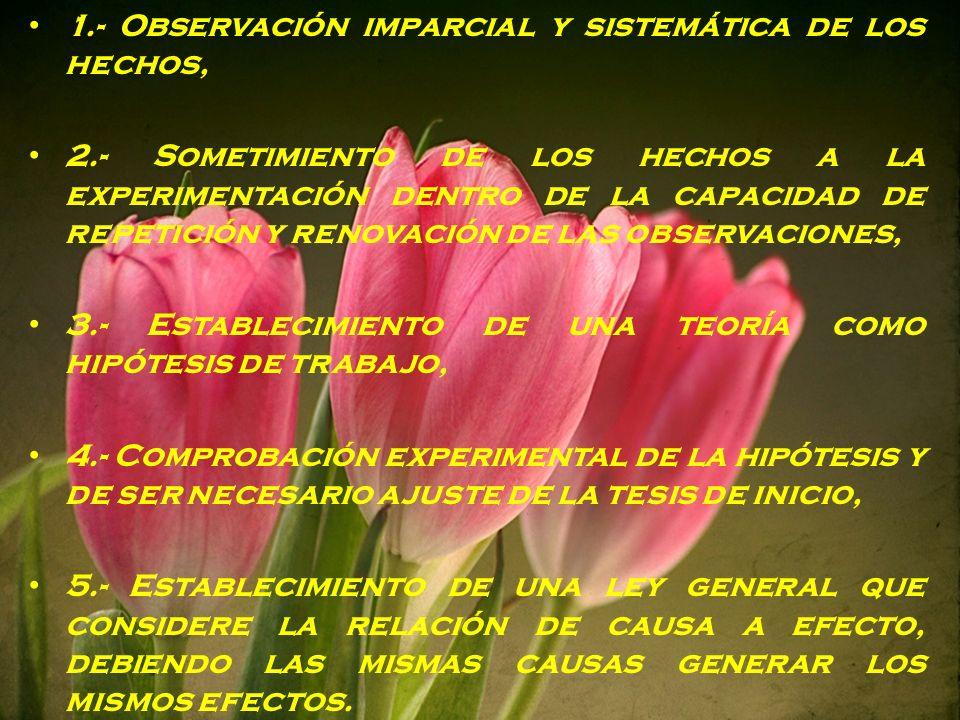 1.- Observación imparcial y sistemática de los hechos,