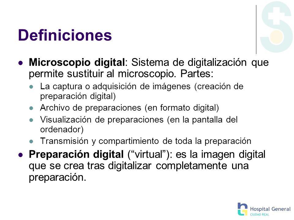 DefinicionesMicroscopio digital: Sistema de digitalización que permite sustituir al microscopio. Partes: