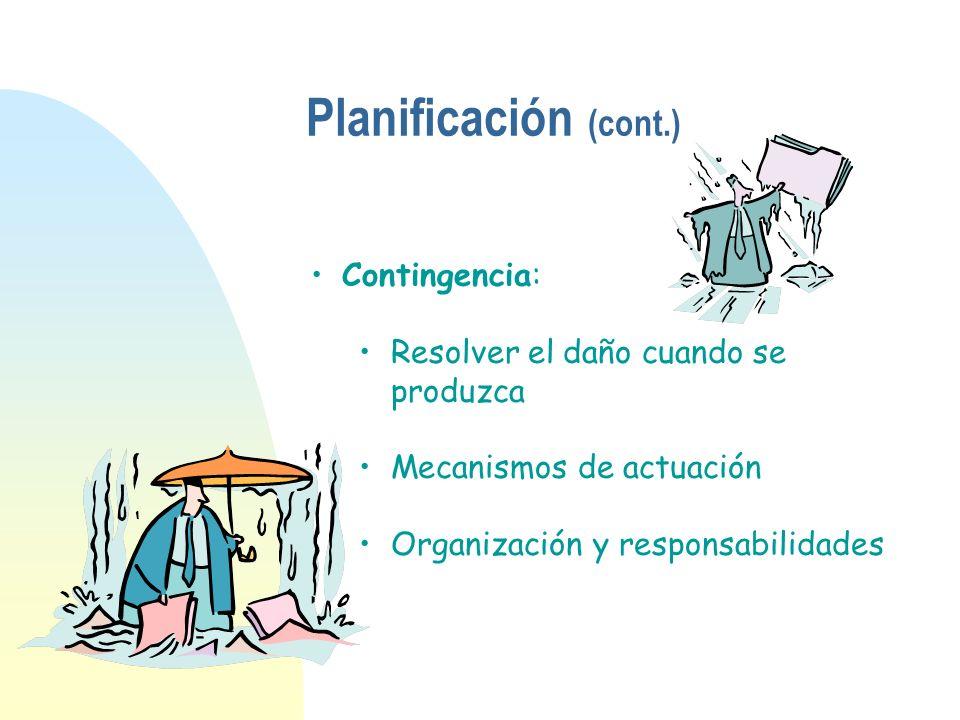 Planificación (cont.) Contingencia: