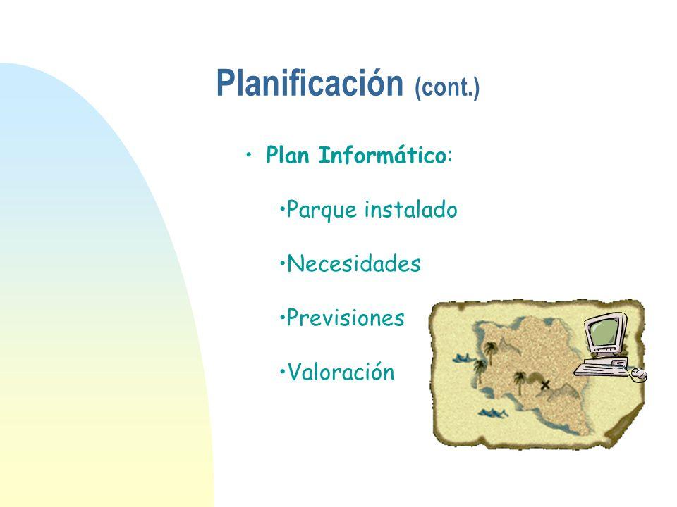 Planificación (cont.) Plan Informático: Parque instalado Necesidades