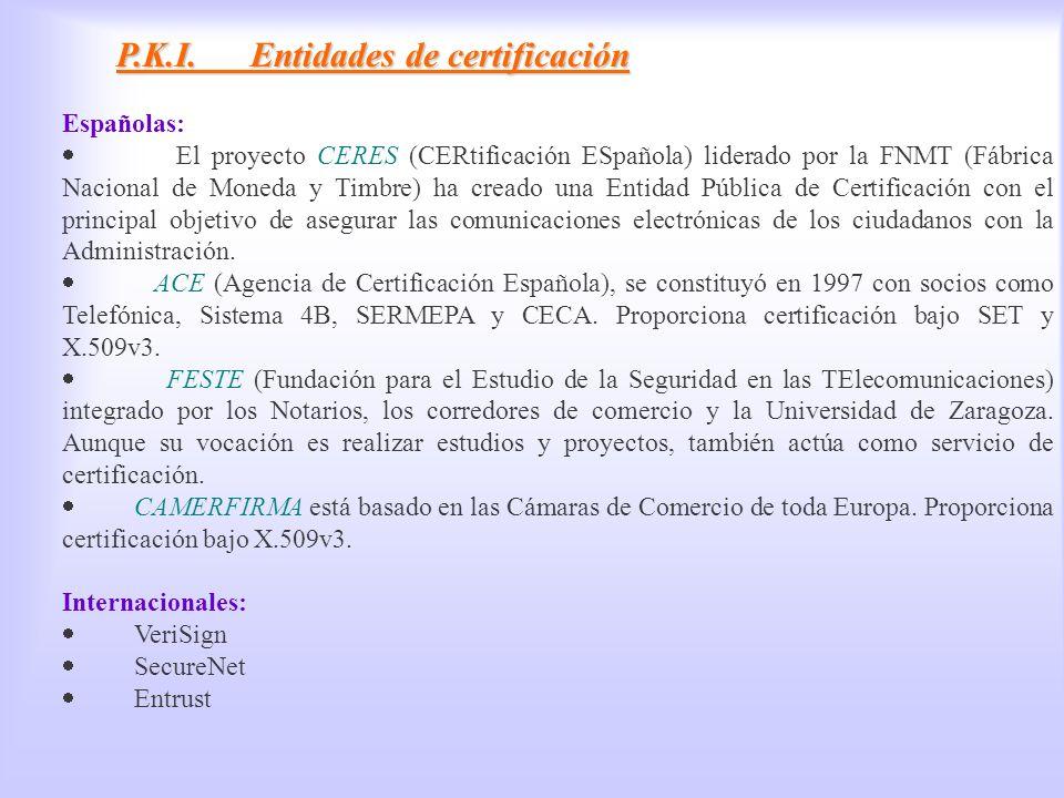 PKI, Entidades de certificación