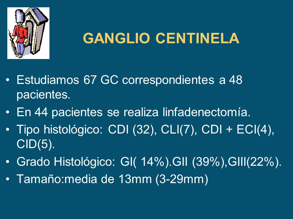GANGLIO CENTINELA Estudiamos 67 GC correspondientes a 48 pacientes.