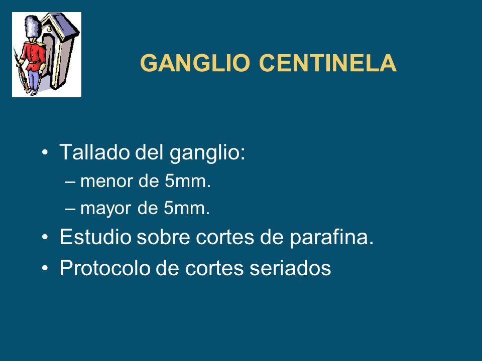 GANGLIO CENTINELA Tallado del ganglio: