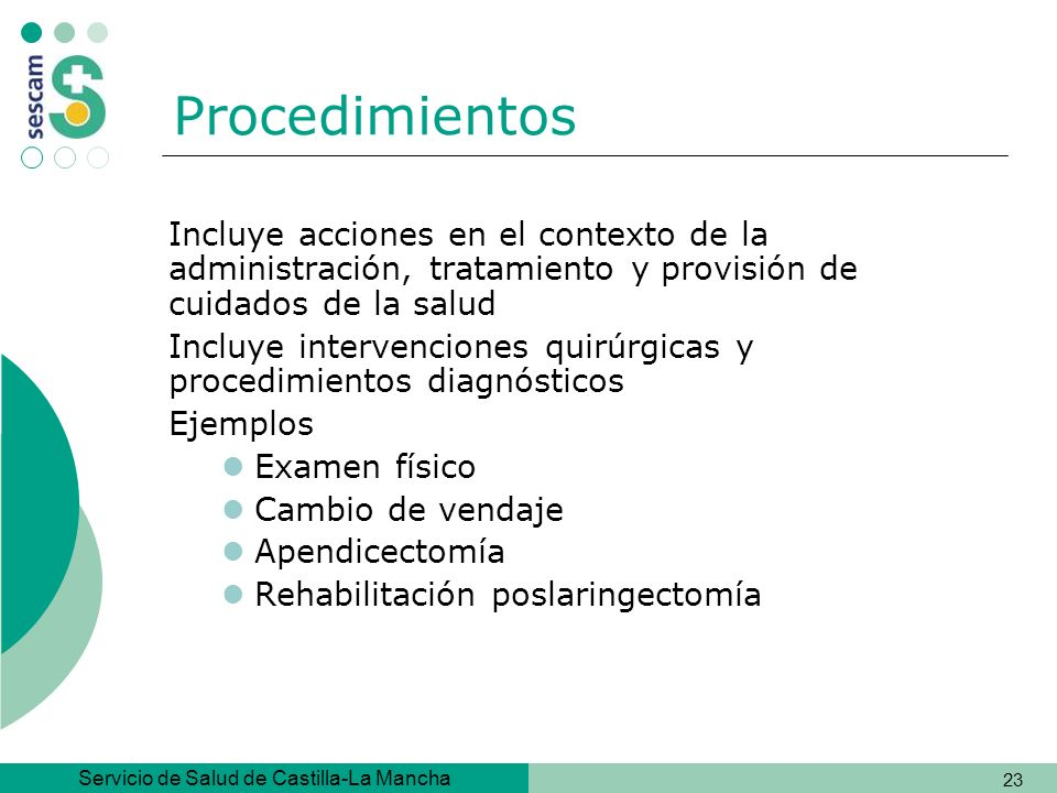 Procedimientos Incluye acciones en el contexto de la administración, tratamiento y provisión de cuidados de la salud.
