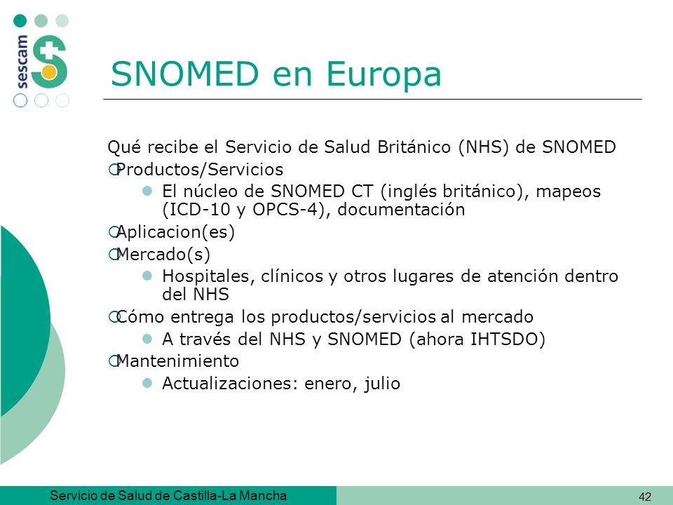 SNOMED en Europa Qué recibe el Servicio de Salud Británico (NHS) de SNOMED. Productos/Servicios.
