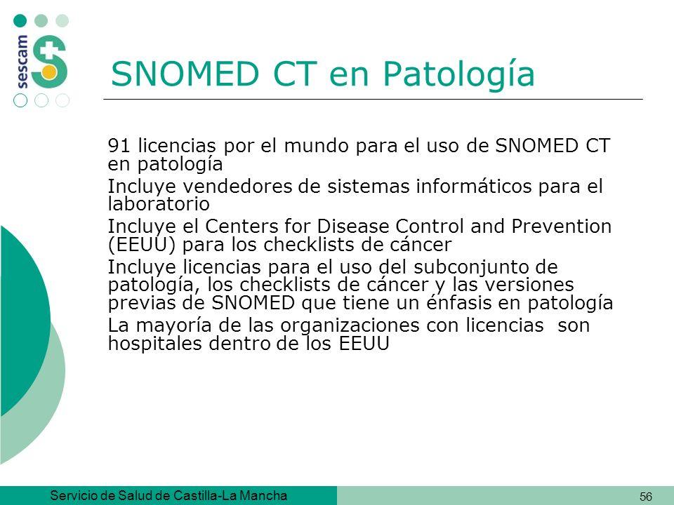 SNOMED CT en Patología 91 licencias por el mundo para el uso de SNOMED CT en patología.