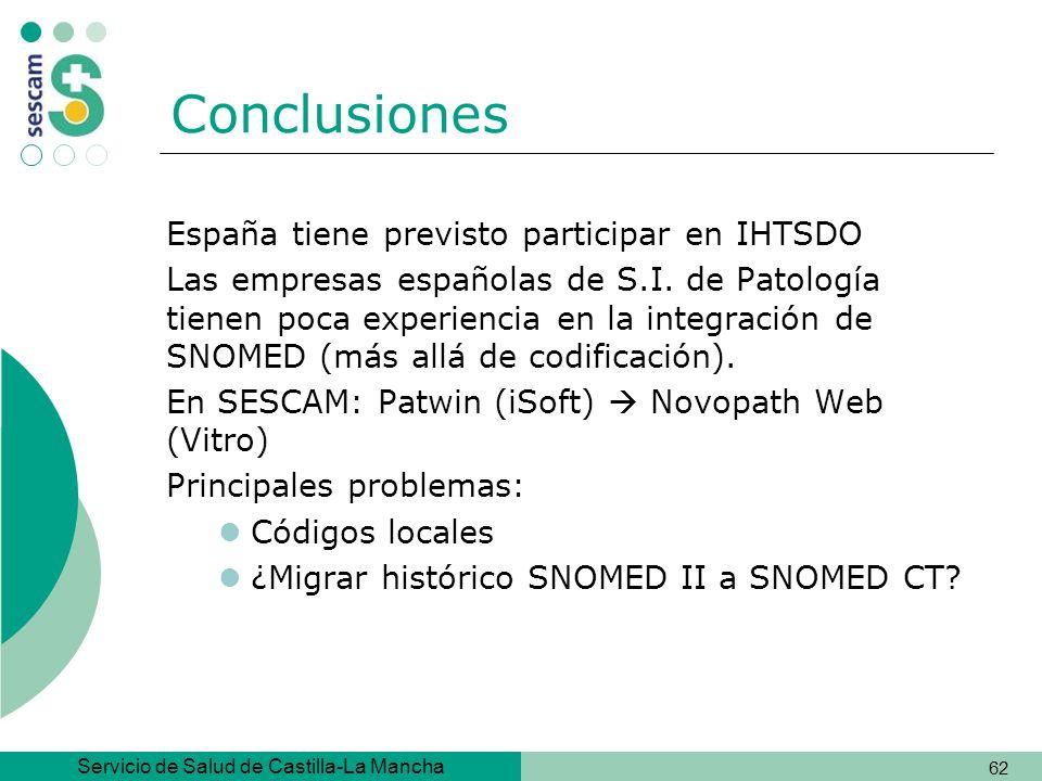 Conclusiones España tiene previsto participar en IHTSDO