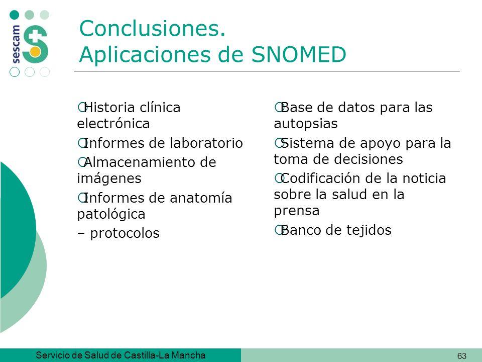 Conclusiones. Aplicaciones de SNOMED