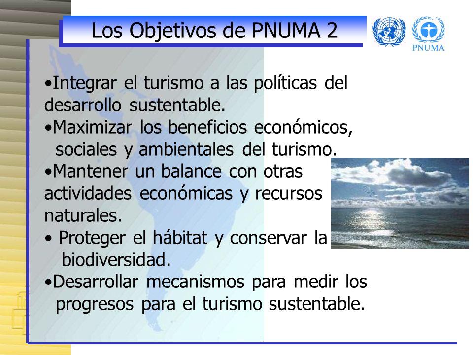 Los Objetivos de PNUMA 2 Integrar el turismo a las políticas del desarrollo sustentable. Maximizar los beneficios económicos,
